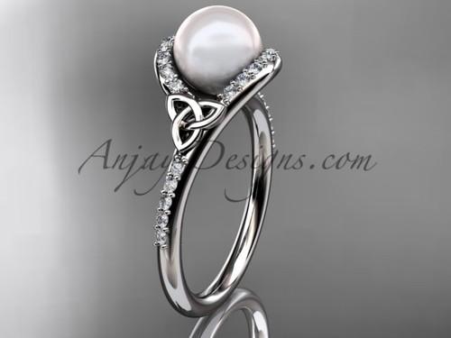 Irish Celtic Engagement Rings Platinum Pearl Wedding Ring CTP7317