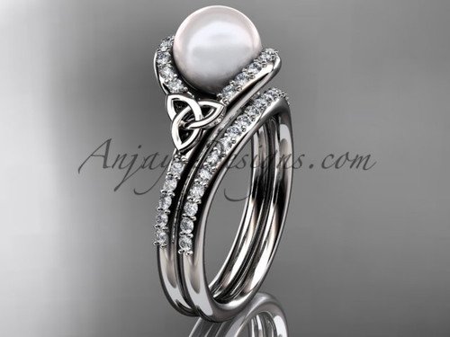 Celtic Engagement Ring White Gold Pearl Wedding Set CTP7317S