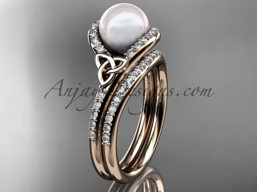 Celtic Engagement Rings Rose Gold Pearl Wedding Set CTP7317S