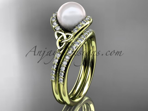 Celtic Engagement Ring Yellow Gold Pearl Bridal Set CTP7317S