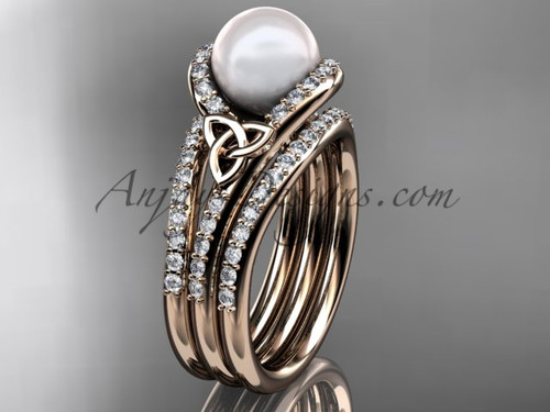 Pearl Celtic Double Band Engagement Ring 14kt Rose Gold Diamond Irish Trinity Knot Wedding Ring CTP7317S
