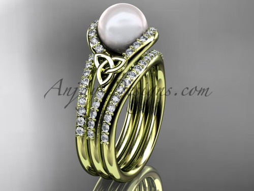 Pearl Double Band Engagement Ring Yellow Gold Ring CTP7317S
