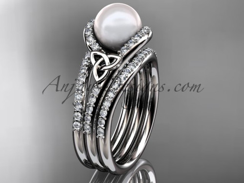 Pearl Double Band Engagement Ring White Gold Ring CTP7317S