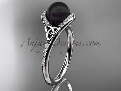 Black Pearl Celtic Engagement Rings White Gold Ring CTBP7317