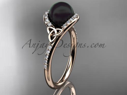 Black Pearl Celtic Engagement Rings Rose Gold Ring CTBP7317