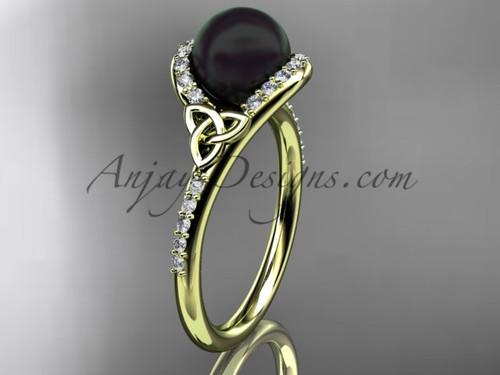 Black Pearl Celtic Engagement Ring Yellow Gold Ring CTBP7317