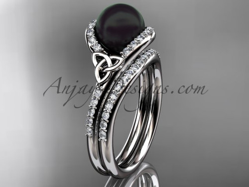 Celtic Engagement Ring White Gold Black Pearl Set CTBP7317S
