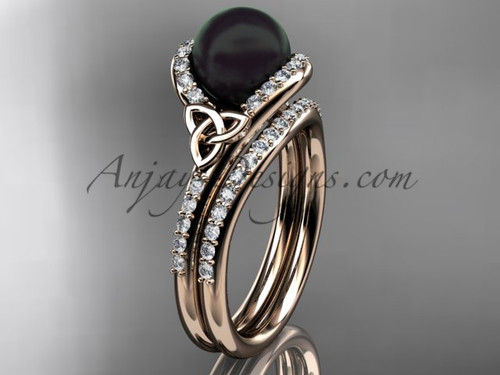Celtic Engagement Rings Rose Gold Black Pearl Set CTBP7317S