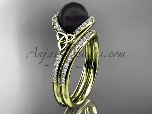 Celtic Engagement Ring Yellow Gold Black Pearl Set CTBP7317S