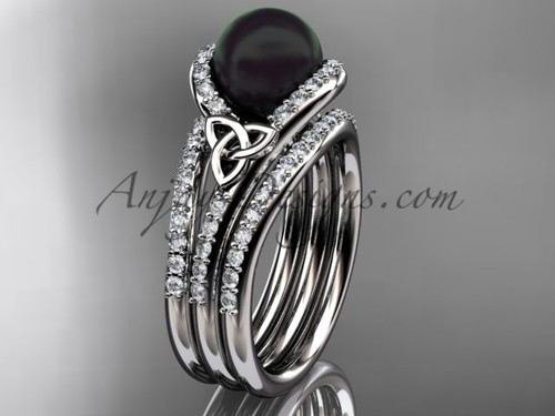 Black Pearl Double Band Engagement White Gold Ring CTBP7317S