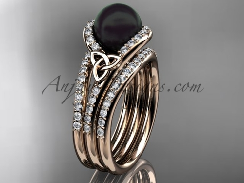 Black Pearl Double Band Engagement Rose Gold Ring CTBP7317S