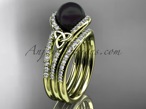 Black Pearl Double Band Engagement Gold Ring CTBP7317S