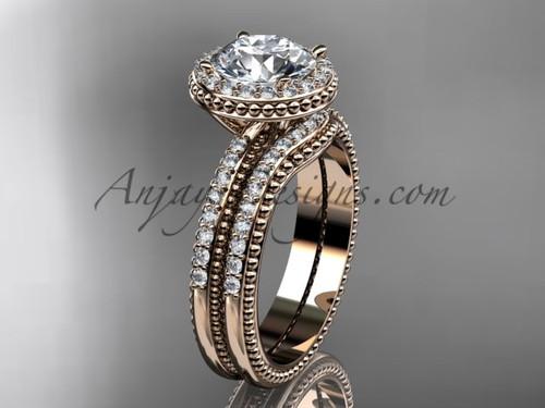 Vintage Halo Engagement Rings Rose Gold Bridal Set ADER105S