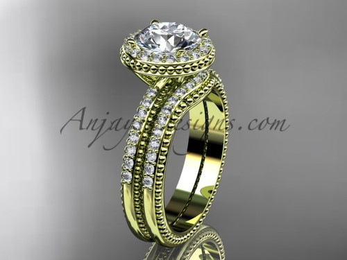 Moissanite Yellow Gold Vintage halo Wedding Set ADER105S
