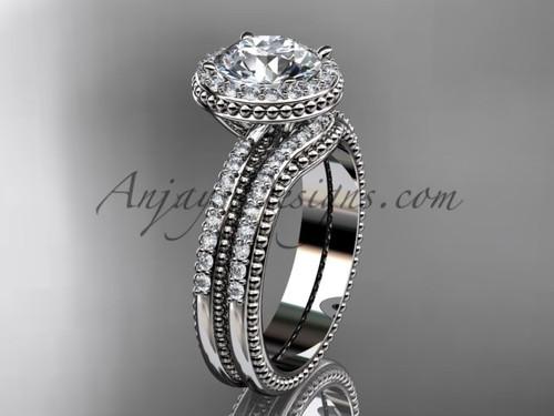 """Vintage halo engagement rings """"Forever One"""" Moissanite center stone Platinum diamond wedding set ADER95S"""