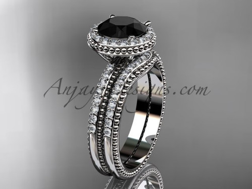 Black Diamond White Gold Vintage halo Wedding Set ADER95S