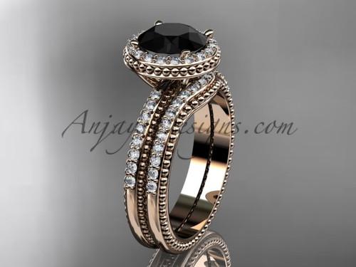 Black Diamond Rose Gold Vintage halo Wedding Set ADER95S