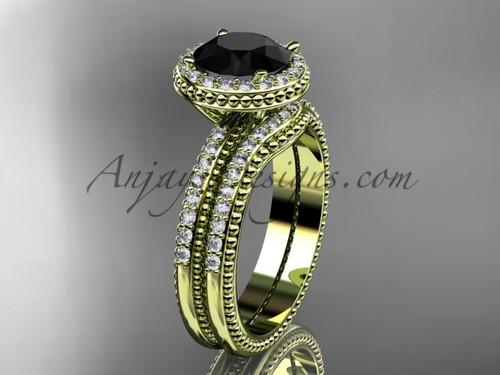 Black Diamond Yellow Gold Vintage halo Wedding Set ADER95S