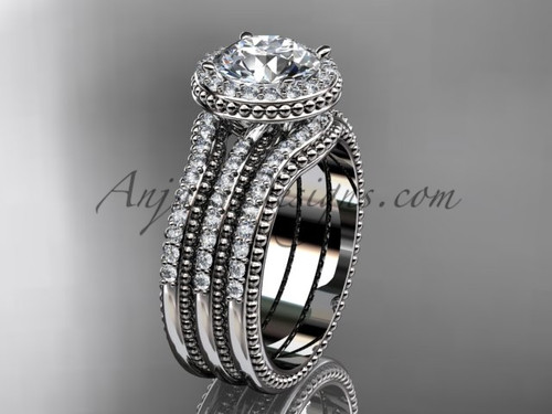 Double Band Engagement Ring White Gold Vintage Ring ADER95S