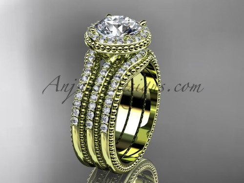 Double Band Engagement Ring Yellow Gold Vintage Ring ADER95S