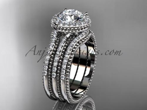Double Band Weeding Ring Moissanite White Gold Ring ADER95S