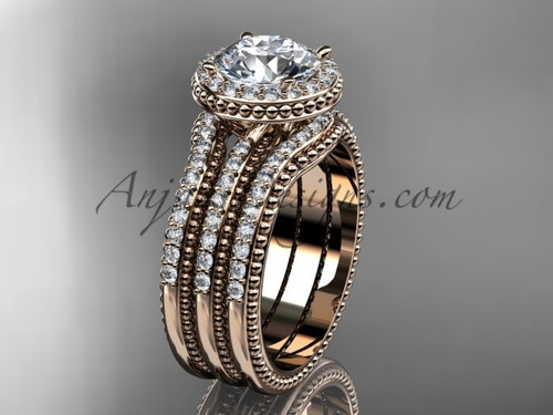 Double Band Weeding Ring Moissanite Rose Gold Ring ADER95S