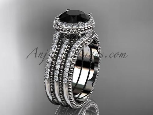 White Gold Double Band Weeding Ring Black Diamond ADER95S