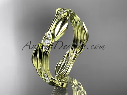 14k yellow gold diamond leaf and vine wedding ring, engagement ring ADLR31B