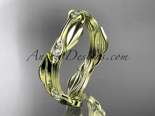 14k yellow gold diamond leaf and vine wedding ring, engagement ring ADLR31B
