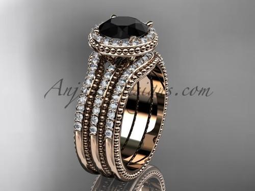 Rose Gold Double Band Weeding Ring Black Diamond ADER95S