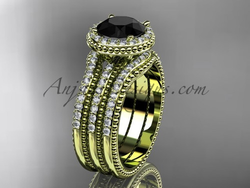 Yellow Gold Double Band Weeding Ring Black Diamond ADER95S