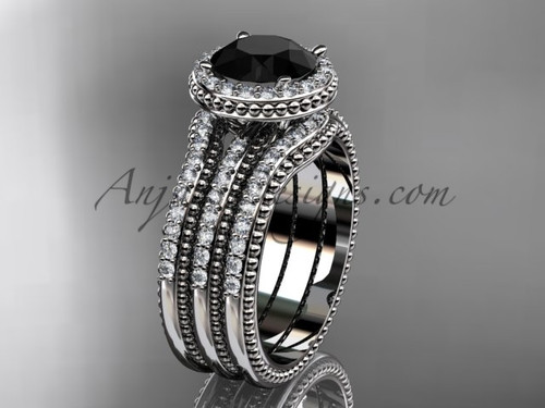 Double Band Weeding Ring Black Diamond Platinum Ring ADER95S