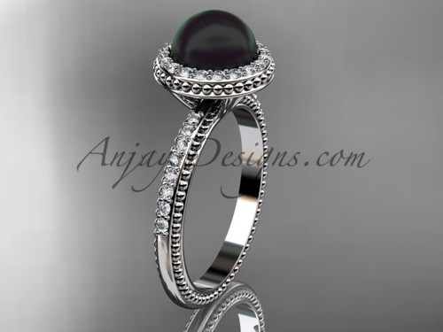 Vintage Black Pearl Engagement Rings White Gold Wedding Ring ABP95