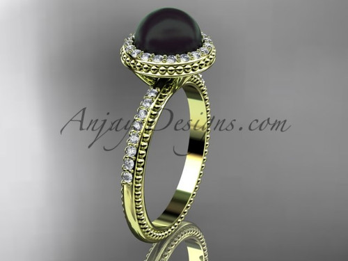 Antique Black Pearl Engagement Rings Yellow Gold Wedding Ring ABP95