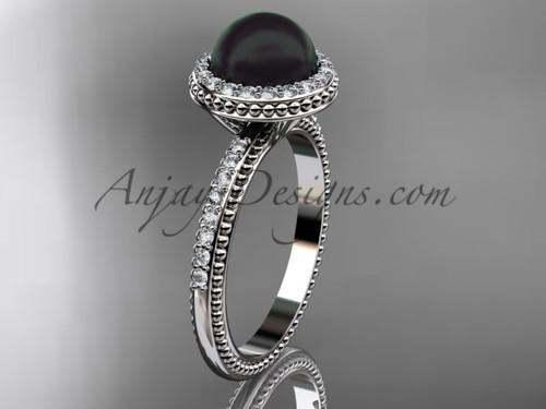 Antique Black Pearl Engagement Rings Platinum Wedding Ring ABP95