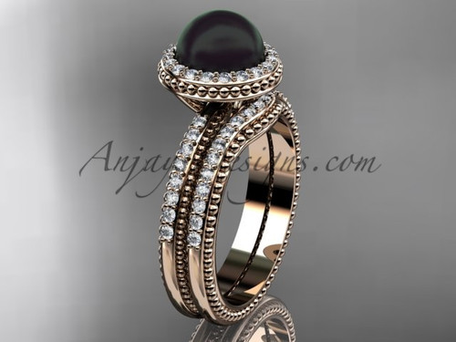 Awesome Black Pearl Wedding Band Sets Rose Gold Ring ABP95S