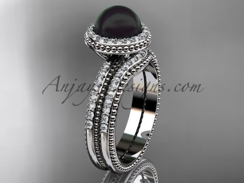Black Pearl Wedding Band Sets Platinum Halo Engagement Ring ABP95S
