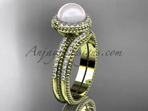 Vintage Pearl Ladies Wedding Ring Set Yellow Gold Ring AP95S