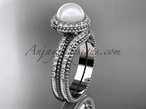 Ladies wedding ring sets pearl platinum diamond halo engagement ring AP95S