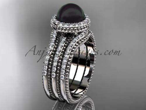 Black Pearl Diamond Wedding Sets White Gold Bridal Ring ABP95S