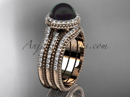 Black Pearl Diamond Wedding Sets Rose Gold Bridal Ring ABP95S