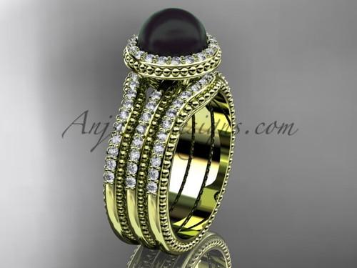 Black Pearl Diamond Wedding Sets Yellow Gold Bridal Ring ABP95S