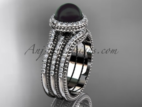 Black Pearl Diamond Wedding Sets Platinum Bridal Ring ABP95S