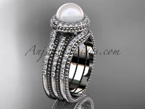 Pearl Diamond Wedding Sets White Gold Bridal Ring AP95S