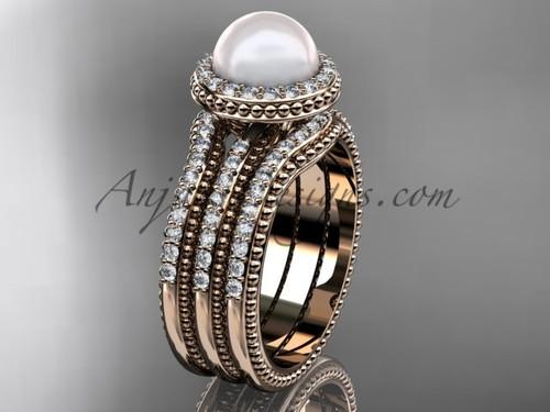 Pearl Diamond Wedding Sets Rose Gold Bridal Ring AP95S