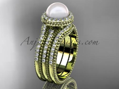 Pearl Diamond Wedding Sets Yellow Gold Bridal Ring AP95S