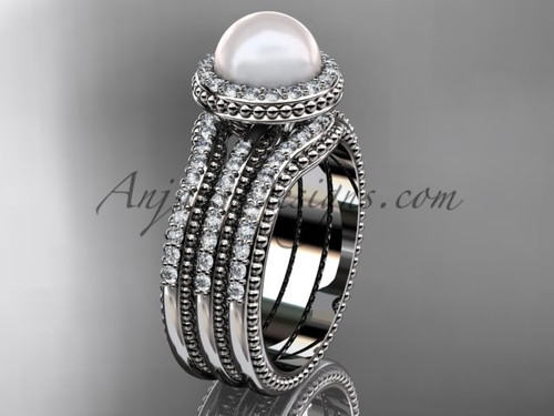 Pearl Diamond Wedding Sets Platinum Bridal Ring AP95S