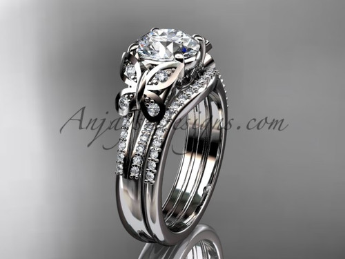 Butterfly Rings White Gold Unique Wedding Ring Set ADLR514S