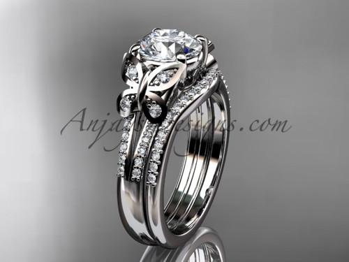 Butterfly Rings White Gold Moissanite Wedding Set ADLR514S