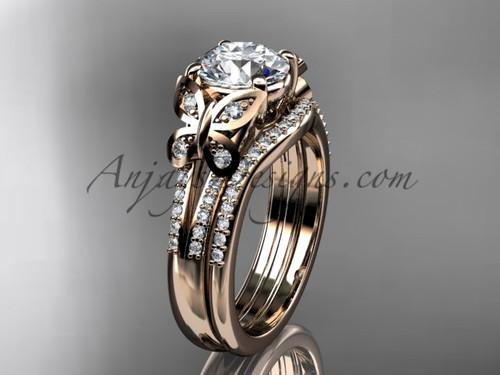 Butterfly Rings Rose Gold Moissanite Wedding Set ADLR514S